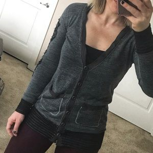 Miss Me Embroidered Black and Gray Cardigan